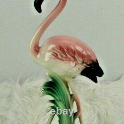 Vintage 1950s Pink Flamingo Ceramic Figurine MCM Art Deco 10 1/4