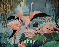 Vintage Art Deco Pink Flamingo Print Birds & Flowers Still Life
