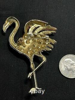 Vintage Enameled Figural Flamingo Bird 1940's Brooch Pink Rhinestones & Enamel