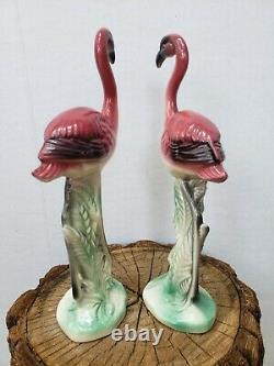 Vintage MCM Pair of Pink Flamingo Figurines Ceramic Art Pottery Standing Upright