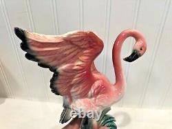 Vintage PINK FLAMINGO Wings Up Ceramic Figurines Statue MATCHING PAIR 2pcs
