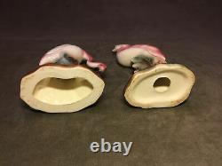 Vintage Pair Ceramic PINK FLAMINGOS Mid Century MCM 10& 7.5 Beautiful