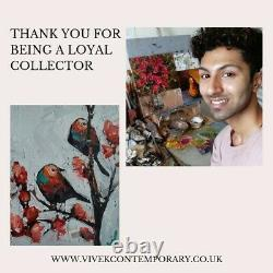 Vivek Mandalia Flamingo Portrait Oil Painting Impressionist Bird Artwork 8 X 8
