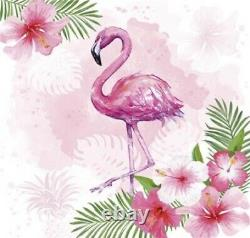 WATERCOLOR FLAMINGO 40pcs Lunch Paper Napkins Tropical, Pink Bird Flowers Summer
