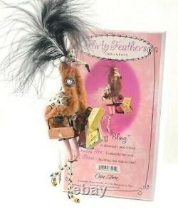 WING BLING Flirty Feathers Pink Flamingo Shopper Ornament Tag & Box New