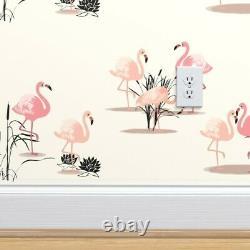 Wallpaper Roll Flamingos Reeds Birds Vintage Pink 1950S Retro 24in x 27ft