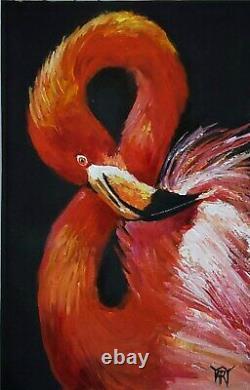 YARY DLUHOS ORIGINAL ART OIL PAINTING Flamingo Bird Pink Water Nature Wildlife