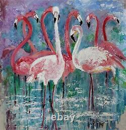 YARY DLUHOS ORIGINAL ART OIL PAINTING Pink Flamingos Wildlife Birds Beach Water